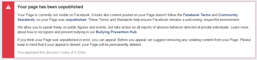 your page has been unpublished