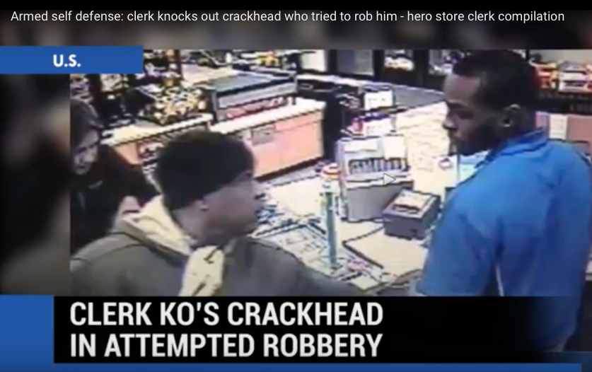 [WATCH] Store Clerk Manhandles Crackhead Robber Armed With Improvised Weapon