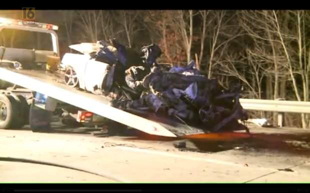 An 18-year-old girl was live-streaming herself on Facebook Live as she drove along a Pennsylvania highway in the moments before a fiery crash that killed her and a passenger. State police say Brooke Miranda Hughes was broadcasting live video on Facebook while driving very slowly in the right lane of Interstate 380 near Tobyhanna shortly after midnight on Tuesday. The passenger, 19-year-old Chaniya Morrison-Toomey, can be heard asking, 'Are you going live?' Before Hughes has a chance to reply, lights flash inside the car, followed by the sound of screeching tires. Both teens died after a tractor-trailer plowed into the back of their Suzuki Forenza. State Police said Hughes was driving with a spare tire doughnut.