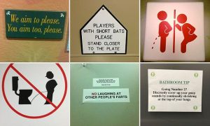 A hilarious gallery of public toilet signs has been published on the Internet.