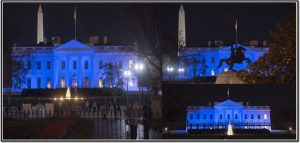 The dark blue tint covering the White House building to mark the World Autism Awareness Day