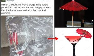 Police Tweet (Left), Illustration of Red Cocktail Umbrella (Right)