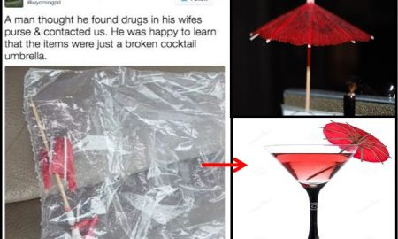 Police Tweet (Left), Illustration of Red Cocktail Umbrella (Right)