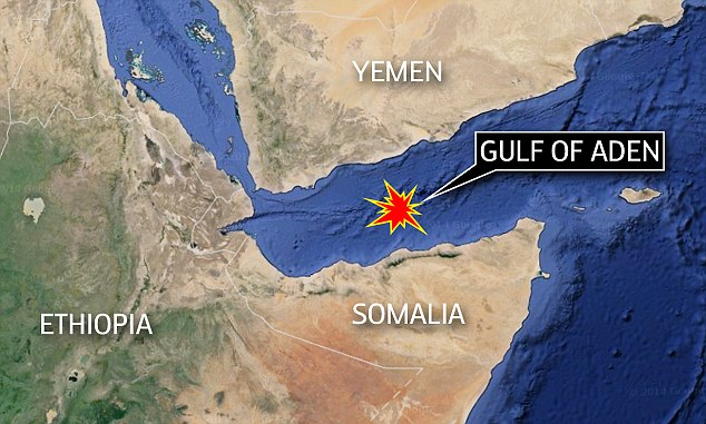 The Gulf of Aden is located between Yemen and Somalia, where the Red Sea meets the Indian Ocean