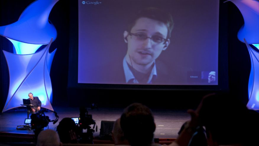 June 5, 2014: Former NSA contractor Edward Snowden participates in a conversation via video with John Perry Barlow, co-founder and vice chairman of the Electronic Frontier Foundation at the 2014 Personal Democracy Forum at New York University in New York.AP
