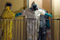 A worker in a hazardous material suit is sprayed down by a co-worker after coming out of an apartment unit where a man diagnosed with the Ebola virus was staying in Dallas, Texas, October 5, 2014 (Reuters / Jim Young)