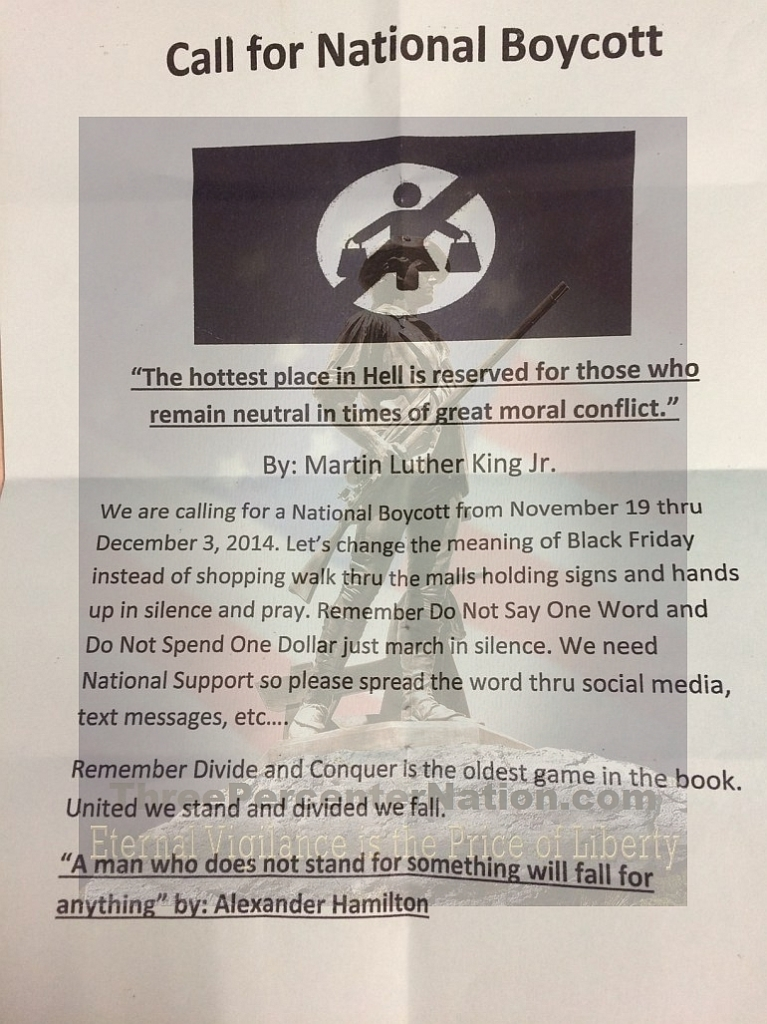 Flier being circulated in Ferguson, MO, in protest of the grand jury results