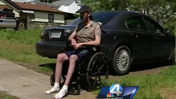 Robert Lee Young in Wheelchair