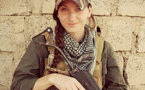 American mother of three joins Kurds fighting Jihadists in Iraq Samantha Johnston, 25, in Iraq fighting with the Peshmerga against Isis (Photo published by her on her facebook page)