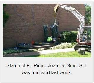 statue-of-Fr.-Pierre-Jean-De-Smet-S.J.-removed