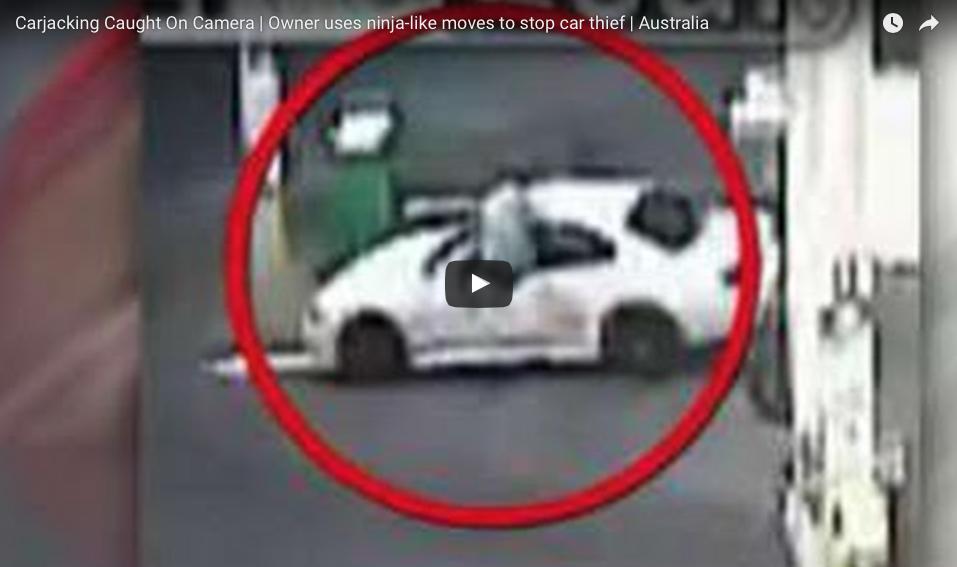 [WATCH] Man Stops Carjacking With Ninja Flying Kick Through Car Window!