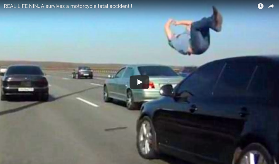 [WATCH] Real Life Ninja Survives A High-Speed Motorcycle Collision