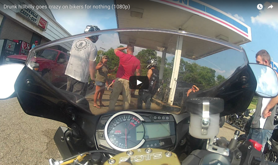 [WATCH] Drunk Hillbilly Goes Crazy On Bikers For Nothing