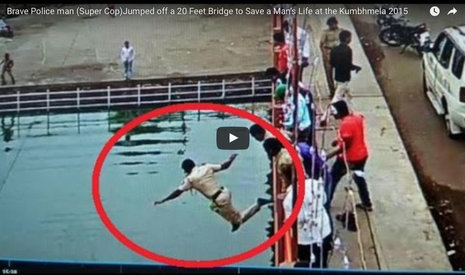 [VIDEO] Brave Police Jumped Off A 20-Foot Bridge To Save A Man's Life