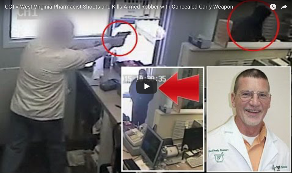 [VIDEO] CCTV Shows Pharmacist Timing His Shot So That Armed Robber Has No Idea