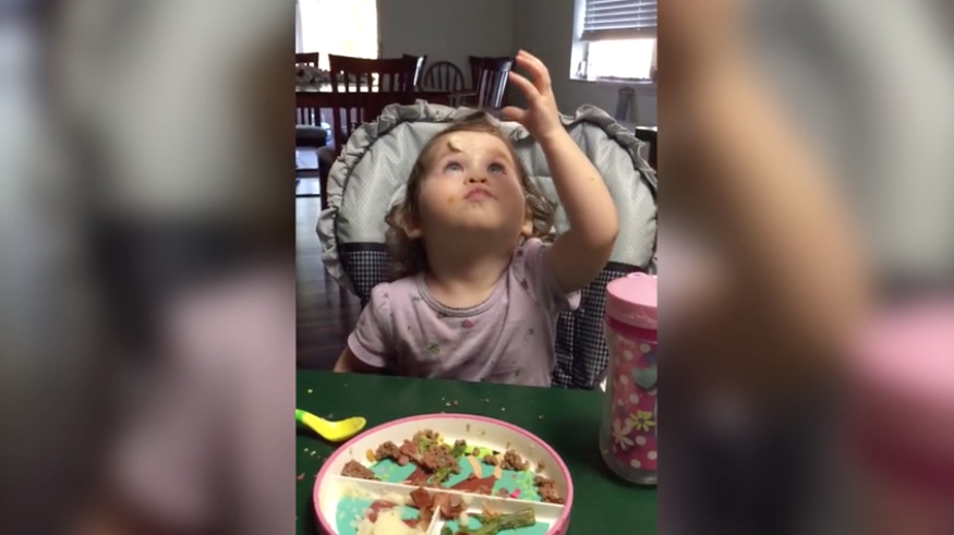 [WATCH] Cute Baby Can't Wipe Mashed Potatoes From Face