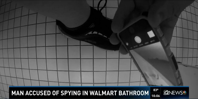 [WATCH] Man -Vs- Man By Cell Phone Spying Under The Walmart Bathroom Stall - GROSS!