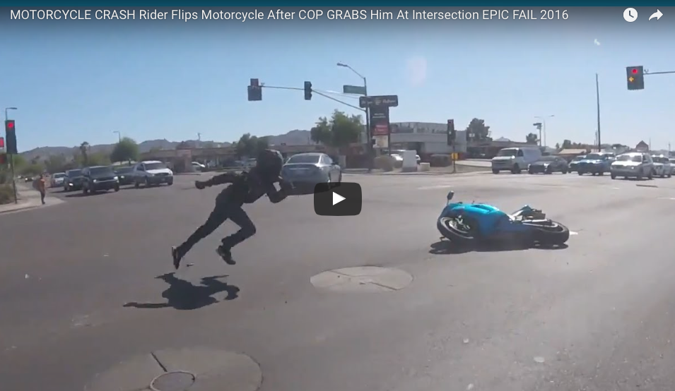 [WATCH] Cop Grabs Biker BEFORE The Bike Flips, Then The Chase Is On!