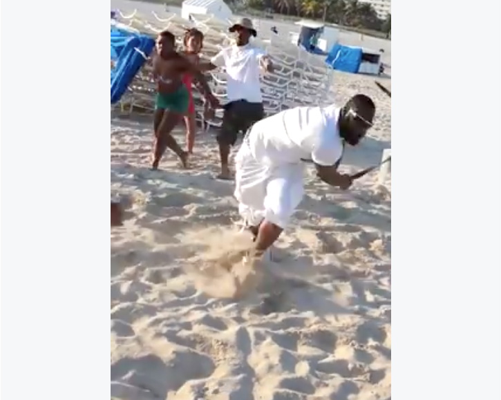 [WATCH] Man Proves That ANYTHING Can Be Used As A Weapon In South Beach Brawl