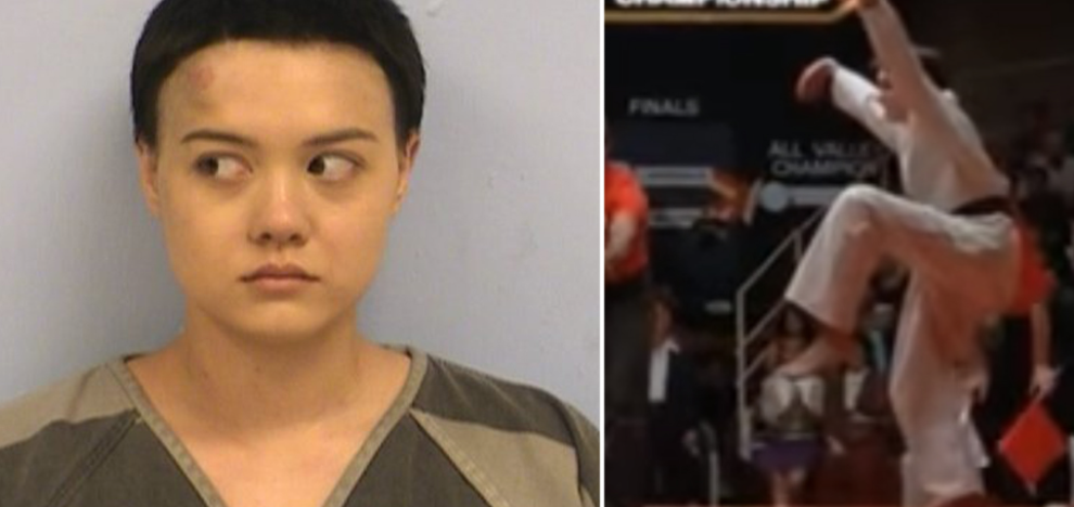 Girl Dislikes A Cop So She Busts Out The 'Karate Kid Crane Kick?'