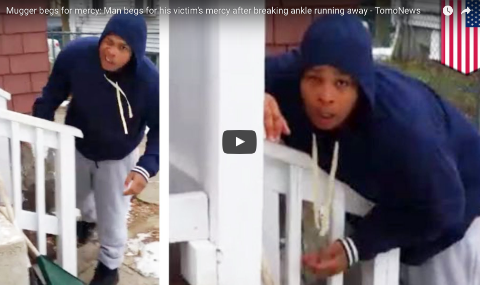 WATCH What Happens After An Armed Mugger Breaks An Ankle During Getaway