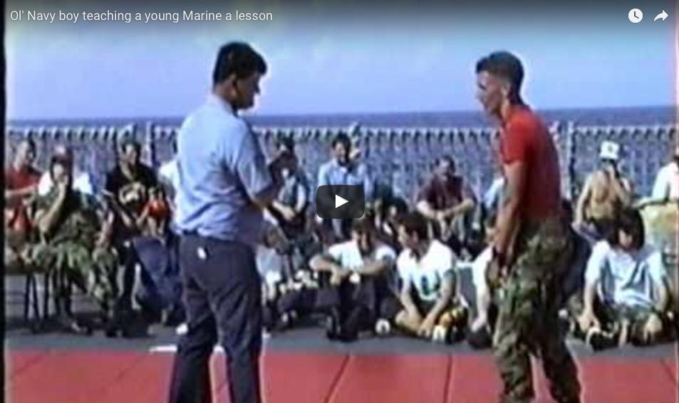 [WATCH] Ol' Navy Boy Teaches A Young Marine A Lesson