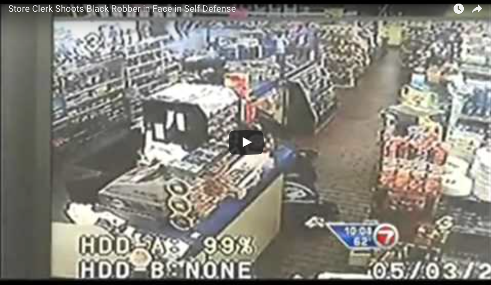[WATCH] Black Robber Pulls Gun On Young Store Clerk And Sees Fastest Gun Draw Ever!