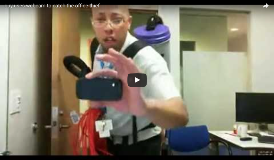 [WATCH] Guy Uses Webcam To Catch The Office Thief