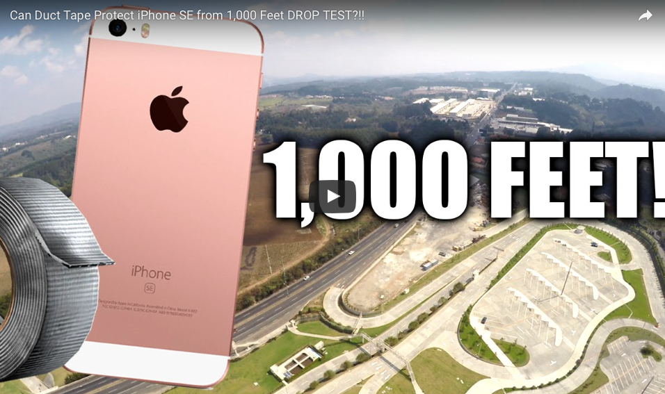 Can Duct Tape Protect iPhone SE From 1,000 Foot DROP TEST From A Drone?