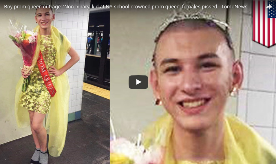 [WATCH] Boy Prom Queen Outrage: 'Non-binary' Kid Crowned Prom Queen, Females Angry