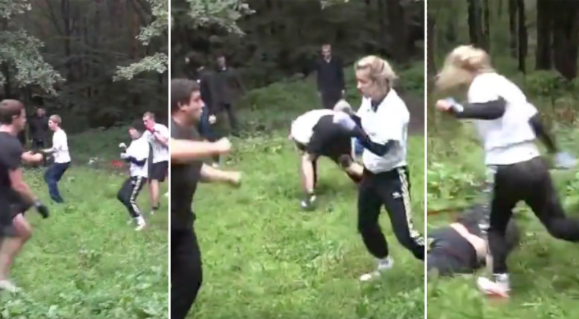 [WATCH] Tough Blonde Girl Goes Viral After Her Performance In Hooligan Fight
