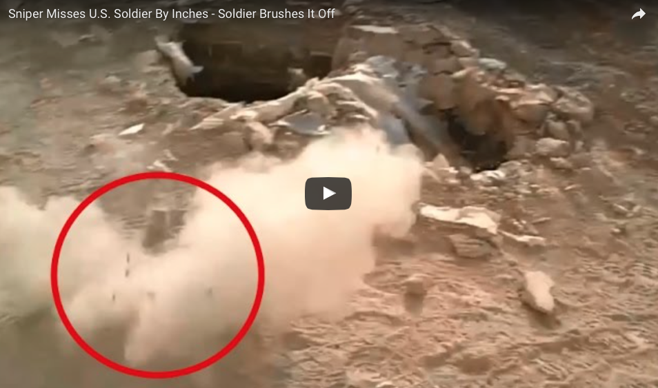 [WATCH] Sniper Misses U.S. Soldier By Inches - Soldier Brushes It Off