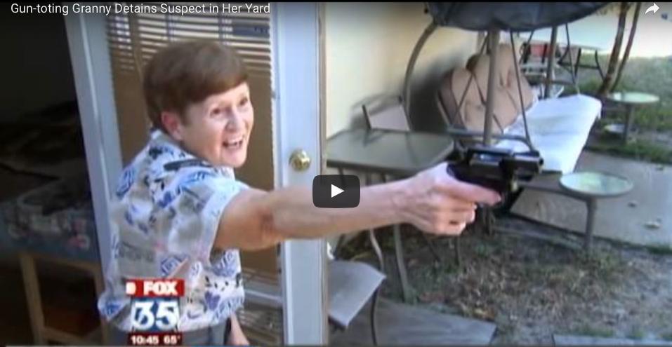 [WATCH] Gun-toting Granny Detains Suspect in Her Yard