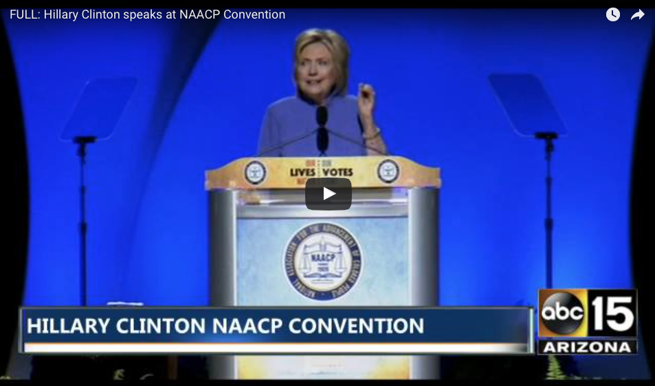 WATCH Hillary Clinton Accuse The Police Of 'Systemic Racism' In NAACP Speech - Race Baiting...