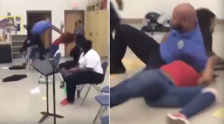 [WATCH] Teacher Breaks Up Girl Fight With Flying Tackle Punch And Ground Choke