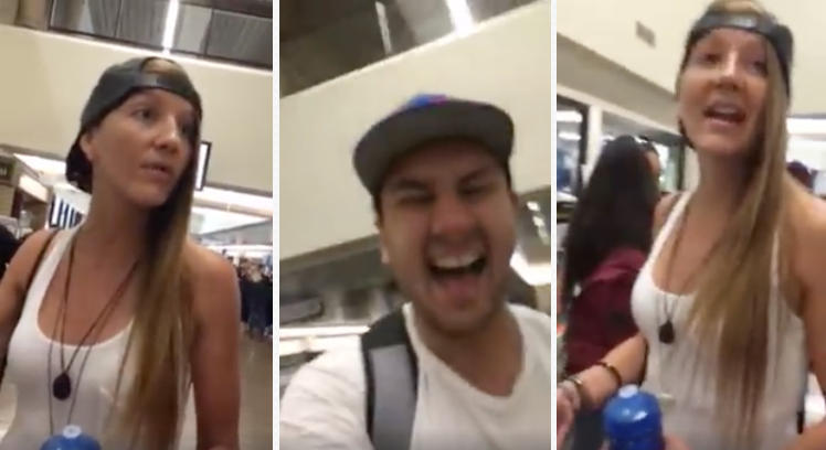 [VIDEO] Trump Hat Forces Hippie College Chick Into Absurd Left-Wing Meltdown