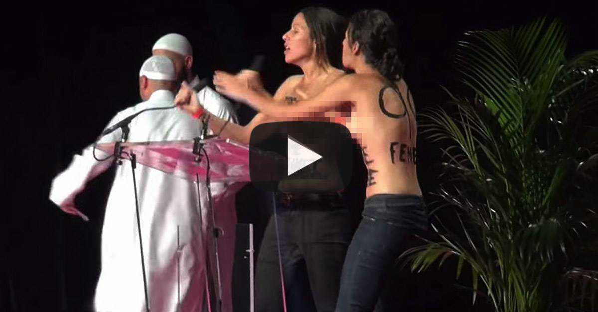 Topless Feminists Protest At Islamic Conference, Then The BEATDOWN Starts