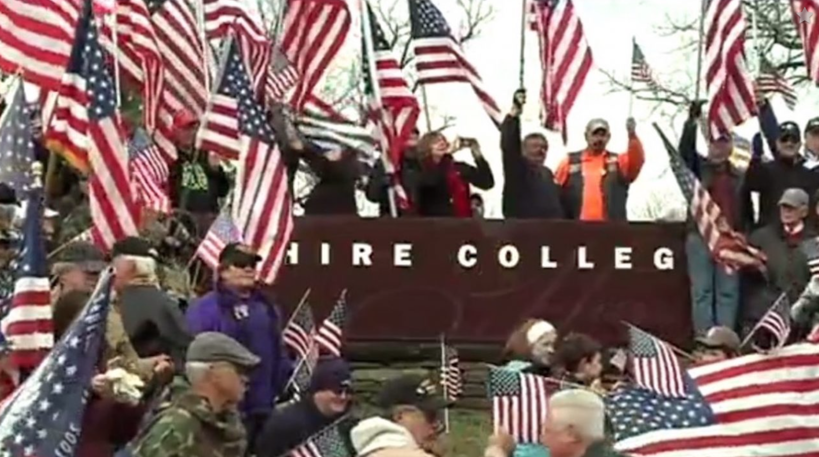 Hippies Try To Burn Flag At Hampshire College - BIG MISTAKE!