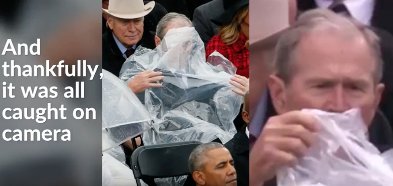 George W. Bush Battled With A Poncho On Camera And Twitter Is Having A Field Day
