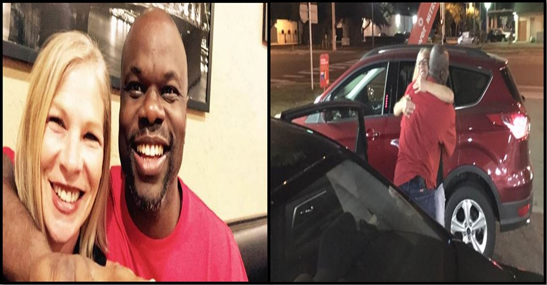 (Left)Debbie Baigrie and Ian Manuel celebrates Ian first Free-Man meal(Right) Both of them hug each other on their first meeting after Ian released from prison