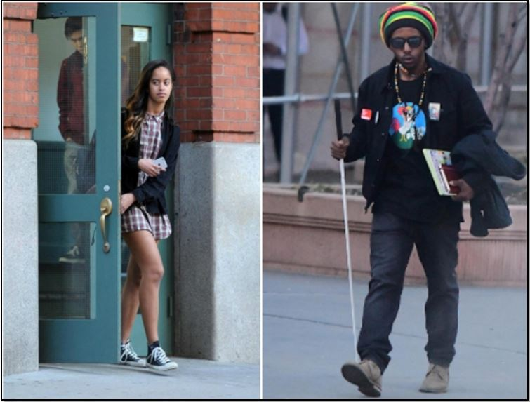 (Left) Malia leaving on a building where she serves as an intern (Right) Photograph of the alleged stalker of Obama's daugther