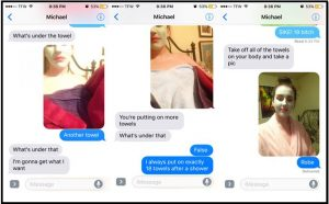 Image of the screenshots of their conversation via text