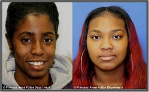 Joy Shuford (left) and D'Asia Perry (right), both 19, have been charged with a hate crime for allegedly torching a Donald Trump sign outside a story in Maryland