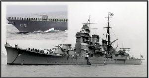 Imperial Japanese Navy heavy cruiser Ashigara, left the Sasebo naval base in Nagasaki