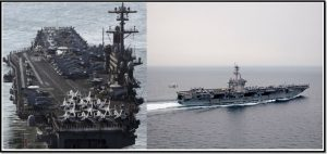 The Nimitz-class US SUPERCARRIER CARL Vinson. This aircraft carrier is 332m long